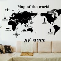 Wall Stiker Uk.60x90 Wall Sticker Dinding Peta Dunia Ikon Negara
