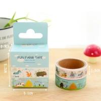 Masking Tape Box - Fun Farm / Pita Selotip Gambar Unik Lucu Murah Imut