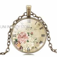 JWNE0031 Kalung Vintage Bunga Mawar Jam Flower Rose Watch