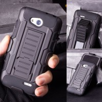 High Impact Armor Cover Casing Case + Belt Clip Holster LG L90 - Dual