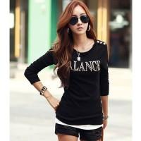 Black Tshirt Balance - Tshirt Wanita - Kaos Lengan Panjang Style Korea