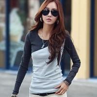 Gray Tshirt Wanita - Baju Wanita Import - Kaos Lengan Panjang