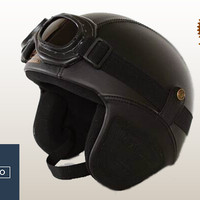 Helm Retro Kacamata Kalep Black Solid Classic | vespa | Jap Style