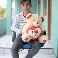 Boneka Teddy Bear I Love You Cream 55 cm (SNI)