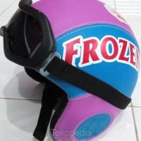 Helm Anak Kulit Handmade Frozen Biru Ungu & Kacamata Retro