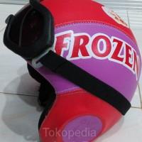 Helm Anak Kulit Handmade Frozen Ungu Merah & Kacamata Retro