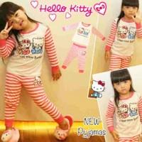 Setelan Baju Piyama Tidur Anak Perempuan Hello Kitty With Bear Kid