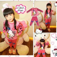 Setelan Baju Piyama Tidur Anak Perempuan Hello Kitty Balon Kid