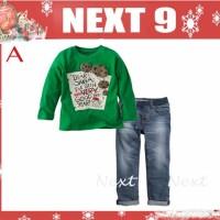 Jual Baju Anak Christmas - Next dear santa green top set jeans Murah