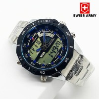 Jam Tangan Pria Swiss Army Dual Time SL14 Silver List Blue