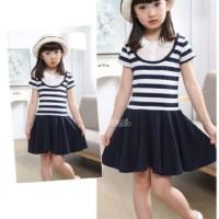Baju Anak Cewek Perempuan Girl Lucu - Dress Rok Cantik Motif Garis