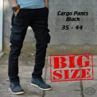 Celana Kargo Panjang Hitam-Cargo Black-Big Size-Ukuran Jumbo