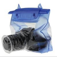 Blue Waterproof Digital Camera DSLR Case Underwater for Diving / Snork