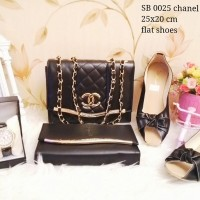 Chanel Loly Black tas set 4in1 tas paketan 4in1 tas paket murah lokal