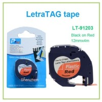 Label Letratag Dymo Merah-RED Plastic Tapes for LetraTag-
