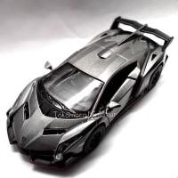 Lamborghini Veneno abu abu cat Doff Diecast miniatur mobil