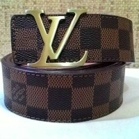 BELT IMPORT LV / IKAT PINGGANG LV GOLD BROWN DAMIER