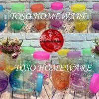 Gelas Toples Harvest Time / Mug jar Drinking Jar Gradasi Tutup Warna