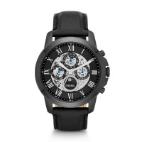 Fossil ME3028 - Jam Tangan Pria Grant Automatic Black Leather Watch