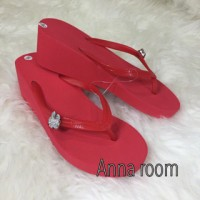sendal poppits, popits sandal, sendal jepit merah tinggi, wedges nyama