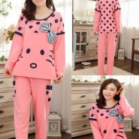 Baju Tidur Setelan Lengan Panjang Piyama Sleepwear Lucu - Cat Ribbon