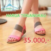 harga Sendal Flat Shoes Poppy Pink Tali Elastis Abu / Sandal Wanita Murah Tokopedia.com