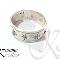Cincin Ring Perak Silver Bali Motif Bunga Matahari Pria Wanita Lelaki