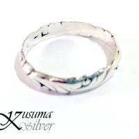 Cincin Ring Perak Silver Bali Motif Ukir Daun Pria Lelaki Wanita asli
