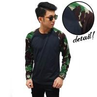 Kaos Raglan Pria / Cowok Branded Sleeve Camouflage Army Dark Green
