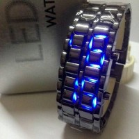 Jam Tangan Iron Samurai Metal Black LED Blue