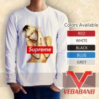 Kaos lengan panjang Hot Rihanna Supreme Logo