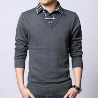 Jual Sweater Brother Joey V Neck Plain Dark Grey Murah