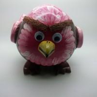 Celengan Batok / Tempurung Kelapa Bentuk Angry Bird Lukis