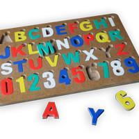 Puzzle alphabet angka premium, Mainan edukatif edukasi anak kayu murah