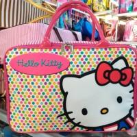 Tas travel bag koper kanvas renang kotak anak Hello kitty polkadot