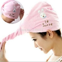 Magic Towel Handuk Pengering Rambut Gambar Keclinci Rabbit Cute Imut