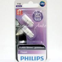 Philips Vision LED T10 6000K - Lampu Senja Mobil / Motor White / Putih