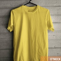 Kaos oblong O neck polos Kuning Kenari kualitas distro ukuran L