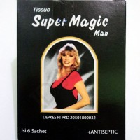 super magic power antiseptic wet tissue tissu pembersih sebelum kondom