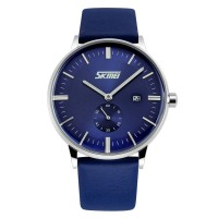 Jam Tangan SKMEI Casual Men Leather Strap Watch 9083CL - Blue