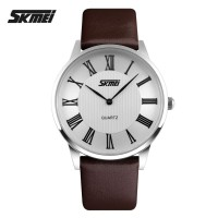 Jam Tangan SKMEI Casual Men Leather Strap Watch 9092CL - Brown