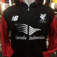 Jaket hoodie Liverpool New Balance warna hitam merah terbaru 2015/2016