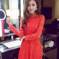XY61600 - Dress Black Red Cheongsam Christmas Lace Ready Import S M L