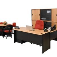 Meja Kantor Model L Uno Warna Beech