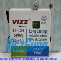 Baterai Smartfren Andromax U3 2400mAh Vizz Double Power