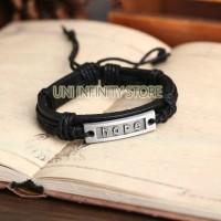 """JWLB0078 Gelang Kulit Pria (""""Hope"""" Leather Bracelet)"""