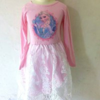 harga Frozen Dress Princess Elsa Pink Tokopedia.com
