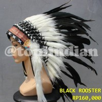 Topi Indian Warbonnet Bulu Ayam Hitam