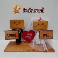 Jual Boneka Kayu Danbo Wedding Kado Pernikahan Souvenir Couple Romantis Murah
