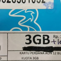 perdana tri three aon 3 gb + pulsa 5000 kuota regular 24 jam 3gb